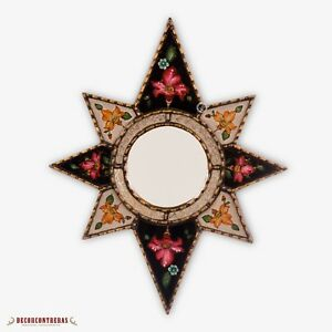 "Peruvian Star Accent Mirror 23""x18.7"", Handpainted glass wall Mirror decorative"