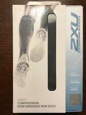 Mens 2XU Compression Performance Running Socks Extra Small XS Stone Black