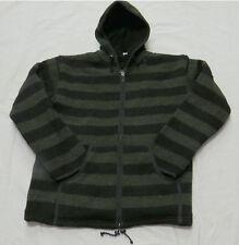 J212 XL Wool Fleece lined Hoodie Zip Black Green Stripes winter men Jacket Nepal