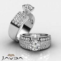 Splendid Round Diamond 3 Row Channel Set Engagement Ring GIA F SI1 Platinum 2 ct