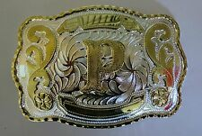 "NEW INITIAL "" P ""  RODEO BIG COWBOY WESTERN BELT BUCKLE"