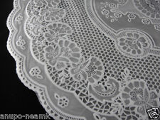 PAIR OF MID CENTURY PLASTIC LACE TABLE MATS DOILIES ROUND PLACEMAT