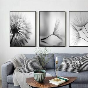 Dandelion Flower Black White Art Canvas Painting Modern Pictures Decor 3PCE Set