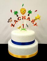 Jungle animal birthday cake topper, personalised name and age