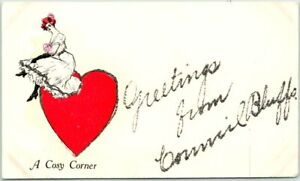 """1910s """"Greetings from COUNCIL BLUFFS"""" Iowa Postcard """"A Cosy Corner"""" Girl Heart"""