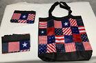 (3) Patriotic Flag Patchwork Tote Bag Shopper Full Zipper Pocket Folding NEW