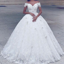 Weiß Elfenbein A-Linie Spitze Brautkleider Hochzeitskleid Abendkleid Ballkleid