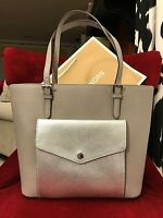 NWT MICHAEL KORS SAFFIANO LEATHER JET SET LG POCKET MF TOTE BAG IN PRGREY/SILVER