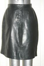 LAMBSKIN Womens BLACK REAL LEATHER MINI SKIRT uk10 us6 eu36 Waist w26ins w66cms
