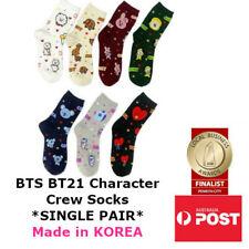 BTS BT21 Bangtan Boys KPOP Character Womens Crew Socks SINGLE PAIR Made in KOREA