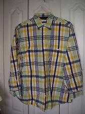 LARGE  J. Peterman Company Mens Cotton Yellow Blue Plaid Oxford Button Up Shirt