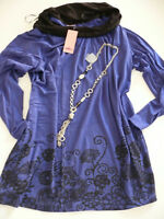 Joe Browns Tunic Shirt Size 40/42 - 48/50 blau with Beautiful Pattern (561) NEW