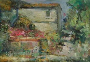 ANTONIO SBRANA La fattoria, olio su tavola, 48,5x68,5cm, opera firmata