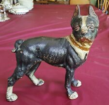 The Best Hubley Boston Terrier Bull Dog Figural Doorstop Amazing Paint Patina
