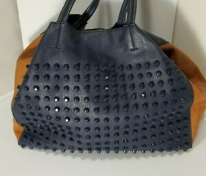 Womens Large  Blue And Tan Studded Tote Shoulder Bag Purse Faux Leather 14 x 11