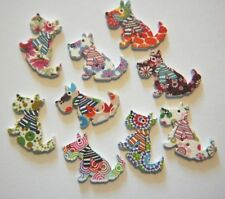 12 x Wood / Wooden Printed SCOTTIE DOG BUTTONS ~ Mixed Colour & Patterns ~ 23mm