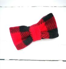 Red & Black Check Fleece Rainbow Dog Bow Tie / Dicky Bow Collar Accessory