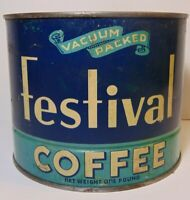 Rare Old Vintage 1930s FESTIVAL COFFEE McFADDEN COFFEE TIN 1 POUND DUBUQUE IOWA