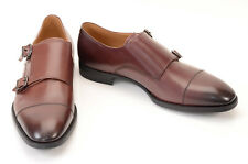 Giorgio Armani brown 9 leather double buckle monk strap loafer shoe NEW $725