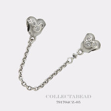 Authentic Pandora Silver Disney Heart of Mickey Safety Chain 791704CZ-05