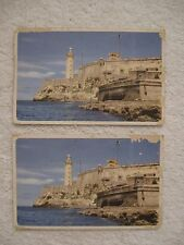 2 Vintage Postcards Morro Castle Havana Cuba Chicago and Southern Air Lines