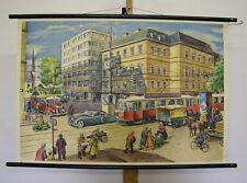 schönes Wandbild Straßenkreuzung wohl Wien Motorrad Auto Tram 98x66~1955 vintage