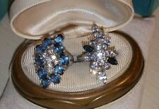 Vintage lot of 2 set sterling silver blue clear/white cz high-long fancy ring