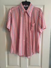 Vintage 60's Or 70's polyester shirt Men's size 16 1/2 Red Stripe