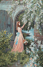 JACQUARD WOVEN WALL TAPESTRY Lady in Garden EUROPEAN FLORAL PICTURE - VICTORIAN