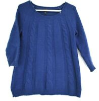 Worthington Women Small 3/4 Sleeve Cable Knit Sweater Top Soft Touch Blue Navy