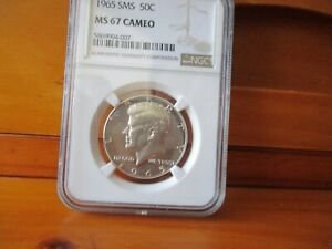 1965 SMS NGC MS 67 Cameo Silver Kennedy Half Dollar