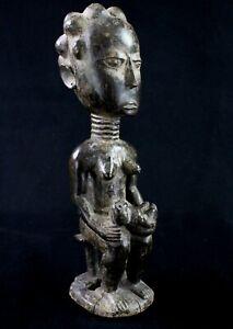 Art Africain Arts Premiers - Ancienne Statue Maternité Akan Agni Anyi - 38,5 Cms