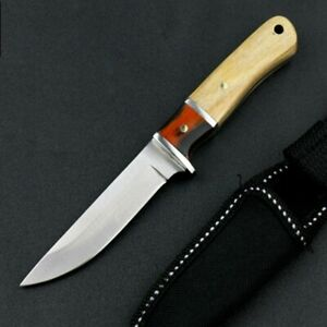 Straightback Knife Fixed Blade Hunting Wild Tactical Combat Survival Wood Handle