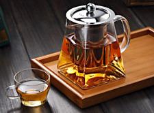 Clear Glass Borosilicate Teapot Loose Leaf Tea 27oz-750ml Square w/ 304 Infuser