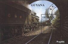 Guyana Blok 92 gestempeld 1990 Stoomlocomotieven