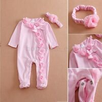 clothing for  22'' Pink Reborn Baby Girl Doll Clothes Jumpsuits Headdress set UK