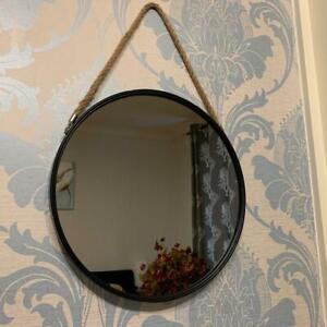 New 40cm Round Black Wall Mirror Rope Hanging Bed Room Decor Vanity Round Mirror