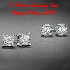 Sterling Silver Stud Earrings Cubic Zirconia Round Men Women 2PC CZ Earrings Set