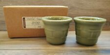 Set of Two Longaberger Pottery Votive Candle Holders in Sage Green - Nib