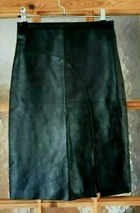 """Vintage OUTER EDGE Black Soft Real Leather Pencil Skirt Size: 8 - Waist 24"""""""
