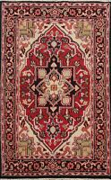 Traditional Geometric Heriz Oriental Area Rug Hand-knotted Wool Carpet 4x6 ft