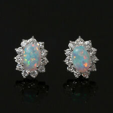 cz synthetic opal stud post earrings new sterling silver 925 cubic zirconia