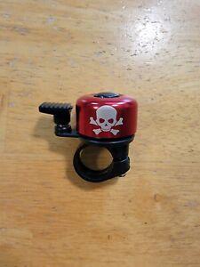 """Skull and Crossbones Handlebar Mount Bike Bell  7/8"""" 22.2mm Mini Bell Red"""