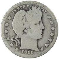 1911 Barber Quarter G Good 90% Silver 25c US Type Coin Collectible