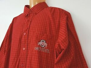 Red Oak Men's Shirt OSU Ohio State Embroidered Large Red Checks 100% Cotton