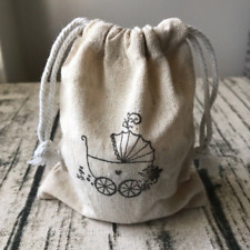 20x Baby Carriage Linen Bags Baby Shower Favour Gift Bags Christmas Baby Present
