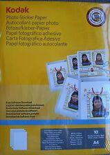 NEW 10 SHEETS KODAK A4 GLOSS PHOTO STICKER PAPER SELF ADHESIVE LABEL & SOFTWARE