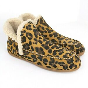 Blondo Serene Leopard Suede Leather Faux Fur Lined Booties Slippers SIZE 10