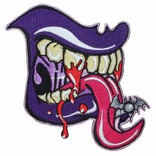 Purple Tongue Monster Teeth Fangs Kreepsville Embroidered Iron On Applique Patch