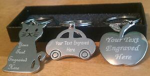 Personalised Engraved Apple/Car/Cat Shaped Keyring Christmas Birthday Gift Box